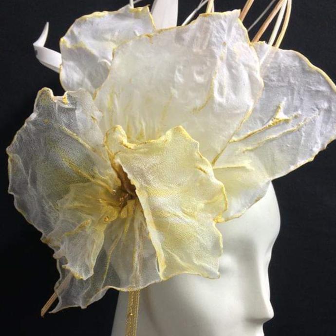 Headpiece handpainted in silk, for Natalia Baquero Millinery